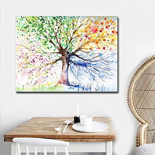 sanzangtang Leinwanddrucke Aquarellbaumplakate und Wandbilder für Wohnzimmerdekoration Wohnkultur30x40cmRahmenlose Malerei