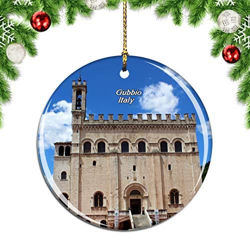 Weekino Italien Piazza Grande Gubbio Weihnachtsdekoration Christbaumkugel Hängender Weihnachtsbaum Anhänger Dekor City Travel Souvenir Collection Porzellan 2,85 Zoll