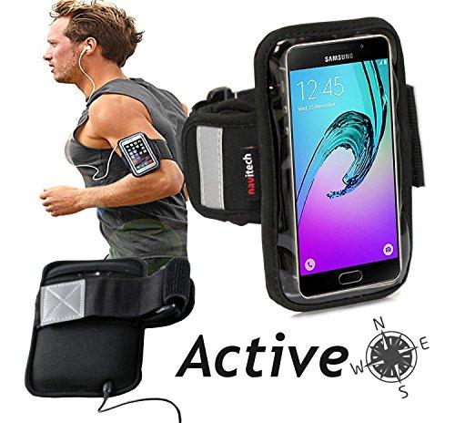 Navitech wasserdicht Schwarz Sport/Fitness/Jogging/Radfahren/Skifahren Armband Tasche Oberarmtasche Schutz Hülle Etui Case für dasSamsung Galaxy A5 (2016)