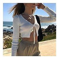 若い 女性のセクシーなカーディガン胸カジュアルソリッドカラーVネック巾着ロングスリーブTシャツトップスはへそスリムフィットS M Lを露出します 美しい (Color : White, Size : M)
