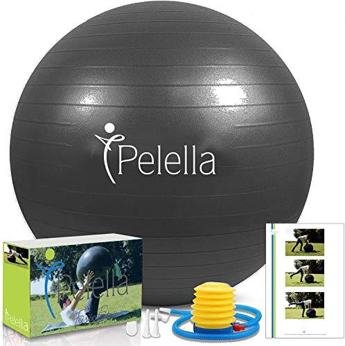 PELELLA Palla Fitness 55cm 65cm Ebook Video Corso Esercizi Ginnastica Fitball Fitness Gymball Pilates Yoga Pilates Gravidanza Attrezzi Palestra Casa Fisioterapia Balance (65 Cm)