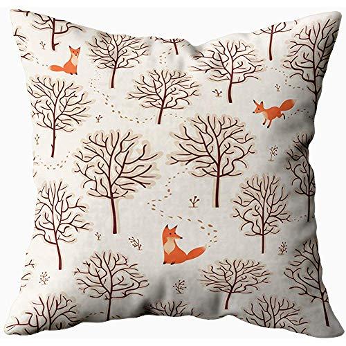 July Kussensloop, vader cadeau, kussen Soft Throw kussenslopen winter achtergrond vossen bomen sporen van de sneeuw