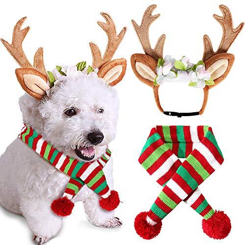 vamei Disfraces para Perros 2 Piezas Pet Knit Christmas Scarf Reindeer Antlers Diadema Disfraz de Navidad para...