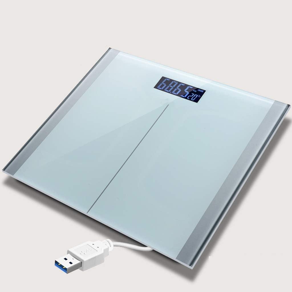 CHGDFQ Balanza electrónica de precisión de carga USB, báscula electrónica de pesaje, báscula de pesaje de salud, medidor de peso corporal doméstico, vidrio ultra delgado templado, pantalla LCD digital