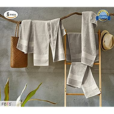 FBTS Basic Hand Towels (6-Pack, Grey, 16x31 Inches) Luxury Towels Highly Absorbent Extra Soft Professional Grade Five-Star Hotel Quality