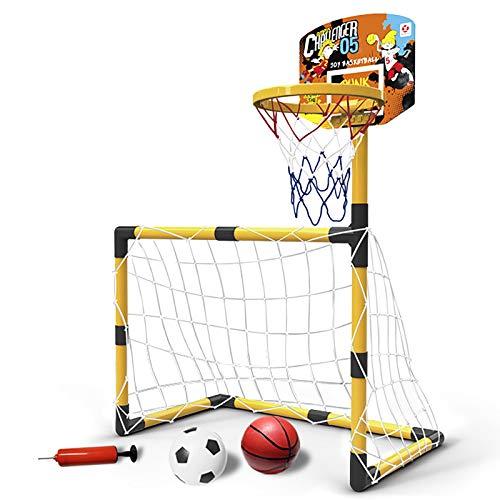 DO-MF Aro de Baloncesto para niños,Juego de Aros de Baloncesto 2 en 1, portería de fútbol, Cesta y Bolas Incluidas,Juego Deportivo para niños,S