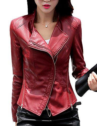 4432-NVY-L Navy KRISP Women PU Leather Cropped Jacket Long Sleeve Bolero