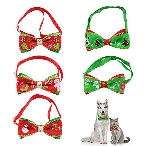 Lifreer 5 x Weihnachts-Fliege für Haustiere, Katzen, Hunde, verstellbares Halsband mit Schleife, Weihnachtsoutfit für Haustiere