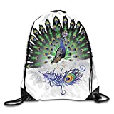 Jebnpse Printed Drawstring Backpacks Bags,Male Peacock with Open Tail Reflection Crowned Majestic...