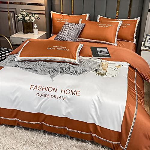 GaoTianyou Ropa de Cama de Seda de Hielo de Verano de Lujo Ligero 4 Piezas sábanas Funda nórdica sábanas Ajustables Tencel colchas para Dormir Desnudas -White_1.5m_Bed (4pcs)