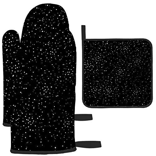 Stars Dot and Spots Galaxy Space Black and Oven Guante y Soporte para ollas Cocina Resistente al Calor para Hornear