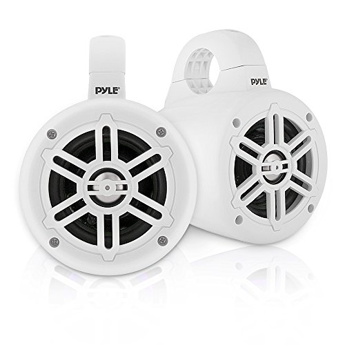 Waterproof Marine Wakeboard Tower Speakers - 4 Inch Dual Subwoofer Speaker Set with 300 Max Power Output - Boat Audio System Kit w/ Titanium Dome Tweeters & Mounting Clamps - Pyle PLMRWB45W (White)