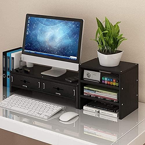 Ordenador Mesa de ordenador portátil Soporte de monitor de madera Organizador de almacenamiento de escritorio Ordenador TV Monitor de ordenador portátil Elevador Color de madera 2 niveles + Cajón
