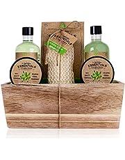 Accentra Cadeauset Olive in houten mand bad-, spa en douche set olijfgeur – 6-delig, in decoratieve mand van hout, het beste cadeau voor verjaardag, Valentijnsdag, groen, bruin