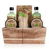 Accentra OLIVE - Set de regalo con cesta de madera para baño, spa y ducha con aroma de oliva, 6 piezas en cesta decorativa de madera, el mejor regalo para cumpleaños, San Valentín