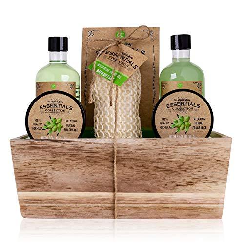 Accentra Geschenkset OLIVE im Holzkorb Bade-, SPA und Dusch Set Olive Duft – 6-teiliges Geschenk set in dekorativem Korb aus Holz, bestes Geschenk für Geburtstag, Valentinstag