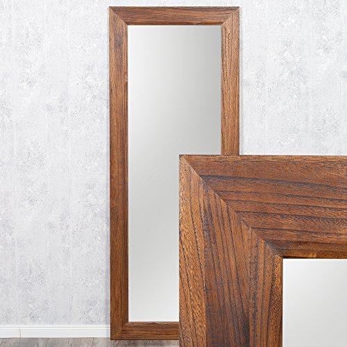 LEBENSwohnART Spiegel Linda 160x60cm Flamed-Wood Blauglockenbaum-Holz massiv Wandspiegel
