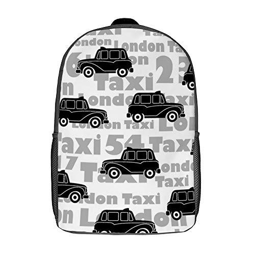 Mochila escolar clásica unisex cómoda para viajeros informales de 17 pulgadas, Patrón de coche negro (Blanco) - TB-ZXY-0w1owvzugdss-1