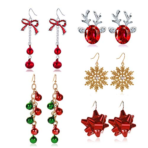 5/6/7/9/13/9Pairs Bow Knot Snowflake Jingle Bell Reindeer Christmas Earrings for Women Girl Cute Christmas Xmas Party Gifts