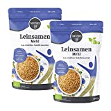 2 x borchers Bio Leinsamenmehl, Mehl aus Goldleinsaat, Von Natur aus Ballaststoffreich, Hoher Eiweißgehalt, Vegetarisch, Vegan, 400 g