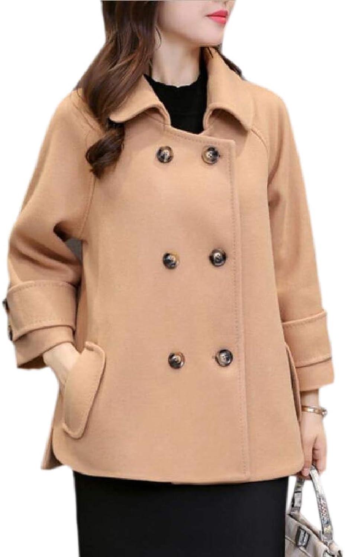 CBTLVSN Women's Notched Lapel Shawl Wool Blend Parkas Classic Coat