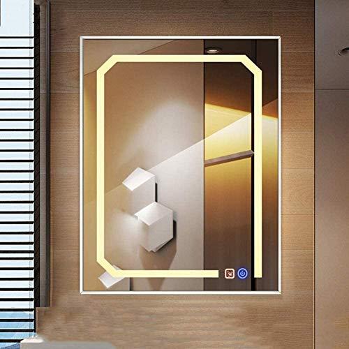 NMDCDH Espejo de baño LED de 60 * 80 cm, lámpara epoxi para Colgar en la Pared con Espejo antiniebla, Marco de Aluminio Rectangular + Interruptor táctil