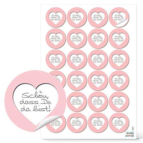 Walser : 48 autocollants ronde avec – Bien que tu es là 4 cm en rose blanc avec cœur de mariage, communion, baptême et tous vos d'autres hôtes