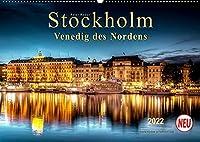 """Stockholm - Venedig des Nordens (Wandkalender 2022 DIN A2 quer): Seinem durch Bruecken und Wasserwege gekennzeichneten Stadtbild verdankt Stockholm die Bezeichnung """"Venedig des Nordens."""" (Monatskalender, 14 Seiten )"""