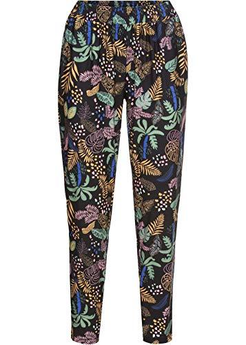 bonprix Hübsche Jogging Pants mit Print und Taschen schwarz Palme lang 32/34 für Damen