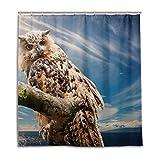 CPYang Duschvorhänge Tier-Vogel-Eule Zweig Wasserdicht Schimmelresistent Badevorhang Badezimmer Home Decor 168 x 182 cm mit 12 Haken