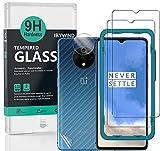 Ibywind Cristal Templado para OnePlus 7T,[2 Piezas],con Protector de Lente de Cámara,Atrás Pegatina Protectora Fibra de Carbono,Incluyendo Kit de instalación fácil