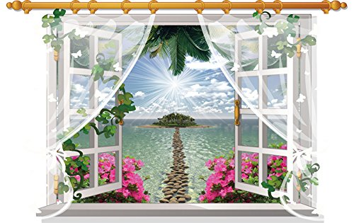 3D Window View Scenery Wall Sticker Mural Art Decal for Home Decor Ocean Beach View with Curtain