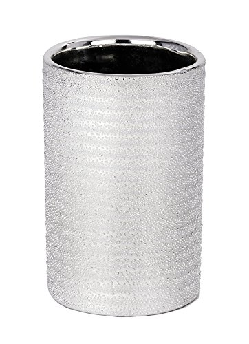WENKO Zahnputzbecher Polaris Juwel Silber - Zahnbürstenhalter für Zahnbürste und Zahnpasta, Keramik, 7.5 x 11.2 x 7.5 cm, Silber