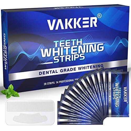 Teeth Whitening Strip, VAKKER 28 Non-Sensitive White Strips Teeth Whitening Kit, 30 mins Fast-Result Teeth Whitener for Tooth Whitening, Up to 10 Shades Whiter, Helps to Remove Coffee Stains