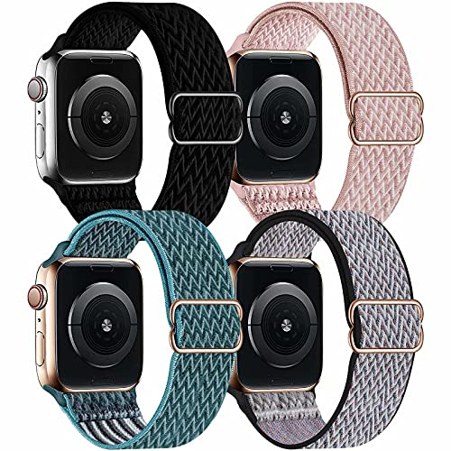 OHCBOOGIE 4 Pack Nylon Solo Loop Compatible with Apple Watch Bands,Stretch Adjustable Soft Sport Breathable Straps for Iwatch Series 6/5/4/3/2/1/SE,Black/Rose Pink/Celestial Teal/Royal Pulse,38/40mm