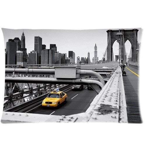 Yellow Cab Taxi New York City Bridge Building Decoración para el hogar Throw Pillow Fundas de colchón Decorativo Square Accent Pillow Case, 18 X