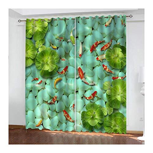 Daesar Cortinas Opaca Ventana Verde Rojo Cortina Poliester Habitacion Pez Dorado y Hojas 214x138CM