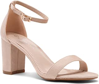 Shoe Land Madeline Womens Open Toe Ankle Strap Chunky Block Low Heel Dress Party Pump Sandals