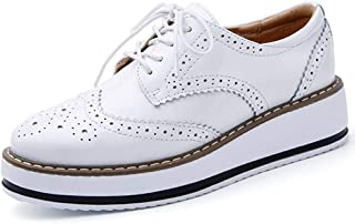 Minetom Femmes Brogues Chaussures de Ville à Lacets Derbies Baskets Cuir Vernis Plateforme Antidérapant Rétro Oxford Moca...