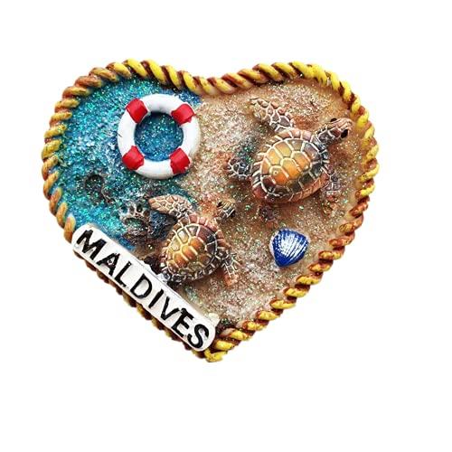 Imán de nevera en forma de corazón de Maldivas para regalo de recuerdo de viaje, colección magnética de artesanía