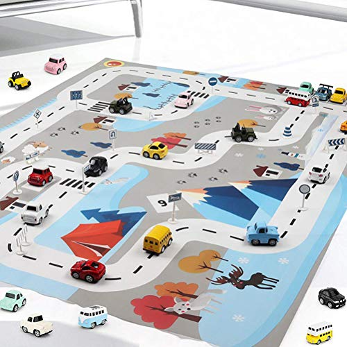 Urisgo Kid Car City Scene Traffic Highway Map Play Mat Juguete Educativo para niños Toddler Climbing Game Street Carpet Kids Playing Mats House Traffic Road Sign