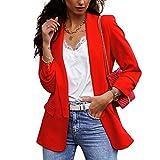 Blazer para Mujer Elegante Mangas Largas Cardigan Chaqueta de Traje Corte Slim de Negocio Oficina Color Sólido (Rojo, XL)