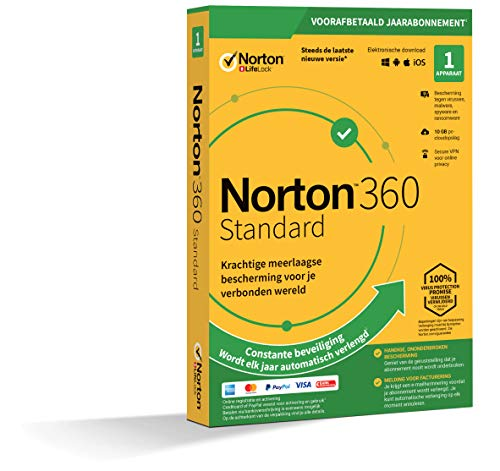 Norton 360 Standard 2020 | 1 Apparaat | 1 Jaar abonnement met automatische verlenging| Secure VPN en Password Manager | PC, Mac, tablet of smartphone