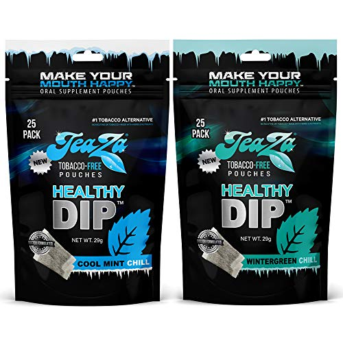 TeaZa Herbal Energy Pouch - Tobacco Alternative - Nicotine Free (Wintergreen Chill + Cool Mint Chill, 2 Bags)