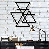 Décoration murale en métal, symbole de quatre éléments, décoration murale, décoration d'intérieur, plaque en métal, cadeau de pendaison de crémaillère (45 x 42 cm)