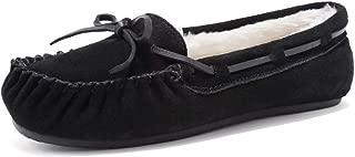 EQUICK Women's Slipper Genuine Suede Leather Fur Lined Indoor & Outdoor Moccasins Slip On-U219WMT036-black-41