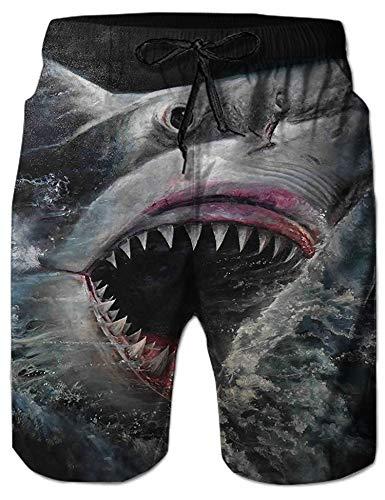 NEWISTAR Badehose für Herren Jungen Badeshorts für Männer Schnelltrocknend Schwimmhose Beachshorts Boardshorts Strand Shorts Trainingshose mit Mesh-Futter-XXL-Sharks4 Sharks4