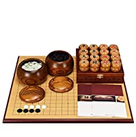 囲碁、中国のチェスセット、厚手の両面チェス盤無垢材のチェスの駒(色:B)ゲーム用