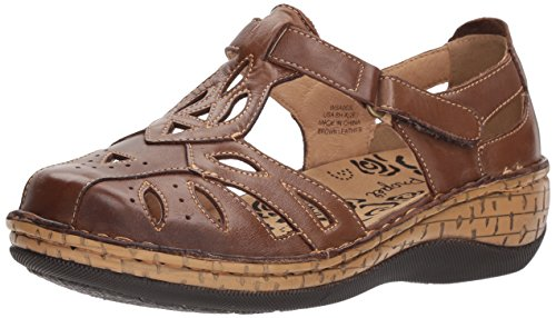 Propet Women's Jenna Fisherman Sandal, Brown, 9 Wide US