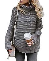 Glanzition Womens Chunky Knit Fall Fashion Long Sweaters Junior Casual Tunic Tops Gray M